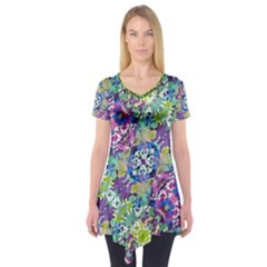 Colorful Modern Floral Print Short Sleeve Tunic