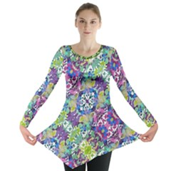 Colorful Modern Floral Print Long Sleeve Tunic