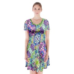 Colorful Modern Floral Print Short Sleeve V Neck Flare Dress