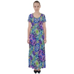 Colorful Modern Floral Print High Waist Short Sleeve Maxi Dress