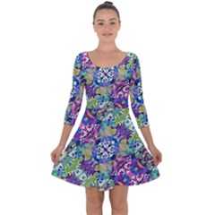Colorful Modern Floral Print Quarter Sleeve Skater Dress