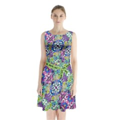 Colorful Modern Floral Print Sleeveless Waist Tie Chiffon Dress