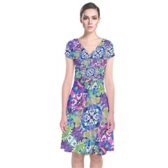 Colorful Modern Floral Print Short Sleeve Front Wrap Dress
