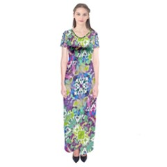 Colorful Modern Floral Print Short Sleeve Maxi Dress