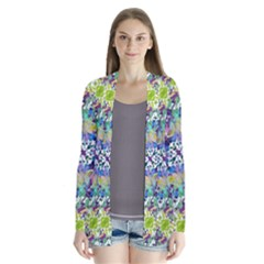 Colorful Modern Floral Print Drape Collar Cardigan
