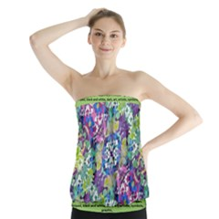 Colorful Modern Floral Print Strapless Top