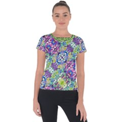 Colorful Modern Floral Print Short Sleeve Sports Top