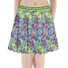 Colorful Modern Floral Print Pleated Mini Skirt