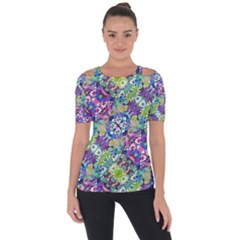 Colorful Modern Floral Print Short Sleeve Top