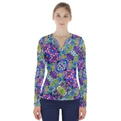Colorful Modern Floral Print V Neck Long Sleeve Top