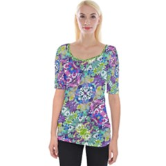 Colorful Modern Floral Print Wide Neckline Tee