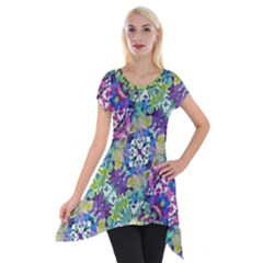 Colorful Modern Floral Print Short Sleeve Side Drop Tunic