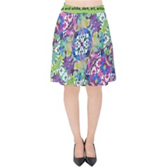 Colorful Modern Floral Print Velvet High Waist Skirt