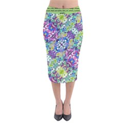 Colorful Modern Floral Print Velvet Midi Pencil Skirt