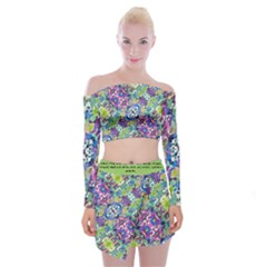 Colorful Modern Floral Print Off Shoulder Top With Mini Skirt Set