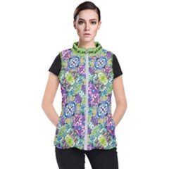 Colorful Modern Floral Print Women s Puffer Vest