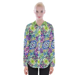Colorful Modern Floral Print Womens Long Sleeve Shirt
