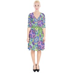 Colorful Modern Floral Print Wrap Up Cocktail Dress