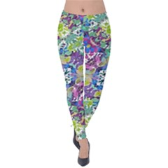 Colorful Modern Floral Print Velvet Leggings
