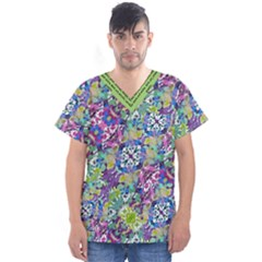 Colorful Modern Floral Print Men s V Neck Scrub Top