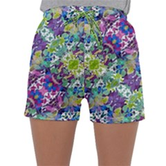 Colorful Modern Floral Print Sleepwear Shorts