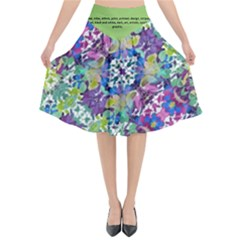 Colorful Modern Floral Print Flared Midi Skirt