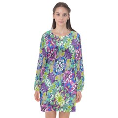 Colorful Modern Floral Print Long Sleeve Chiffon Shift Dress