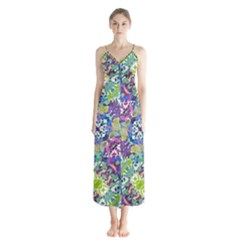 Colorful Modern Floral Print Button Up Chiffon Maxi Dress