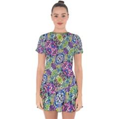 Colorful Modern Floral Print Drop Hem Mini Chiffon Dress