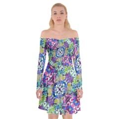 Colorful Modern Floral Print Off Shoulder Skater Dress