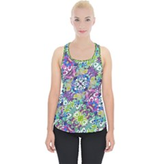 Colorful Modern Floral Print Piece Up Tank Top