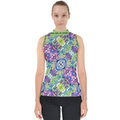 Colorful Modern Floral Print Shell Top