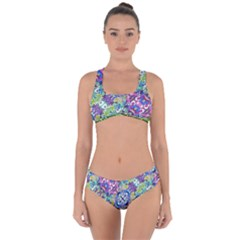 Colorful Modern Floral Print Criss Cross Bikini Set