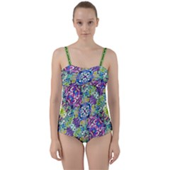 Colorful Modern Floral Print Twist Front Tankini Set