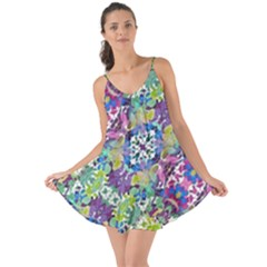 Colorful Modern Floral Print Love The Sun Cover Up