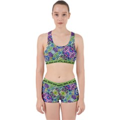 Colorful Modern Floral Print Work It Out Sports Bra Set