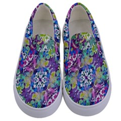 Colorful Modern Floral Print Kids  Canvas Slip Ons