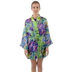 Colorful Modern Floral Print Long Sleeve Kimono Robe