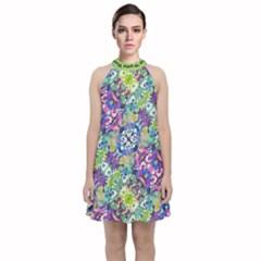 Colorful Modern Floral Print Velvet Halter Neckline Dress