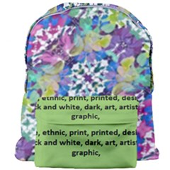 Colorful Modern Floral Print Giant Full Print Backpack