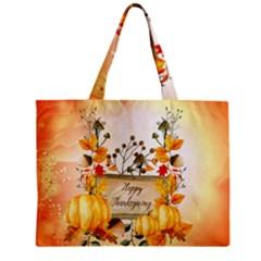 Happy Thanksgiving With Pumpkin Zipper Mini Tote Bag