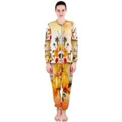 Happy Thanksgiving With Pumpkin Onepiece Jumpsuit (ladies)