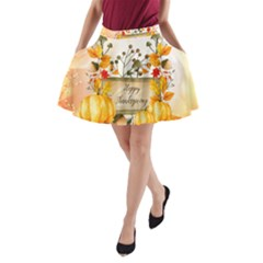Happy Thanksgiving With Pumpkin A Line Pocket Skirt