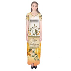 Happy Thanksgiving With Pumpkin Short Sleeve Maxi Dress