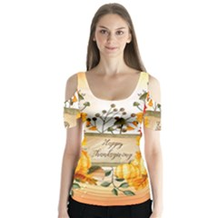 Happy Thanksgiving With Pumpkin Butterfly Sleeve Cutout Tee