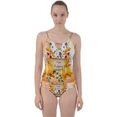 Happy Thanksgiving With Pumpkin Cut Out Top Tankini Set