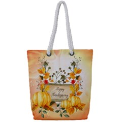 Happy Thanksgiving With Pumpkin Full Print Rope Handle Bag (small)