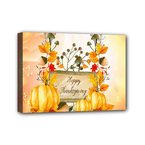 Happy Thanksgiving With Pumpkin Mini Canvas 7  X 5
