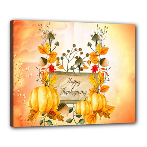 Happy Thanksgiving With Pumpkin Canvas 20  X 16