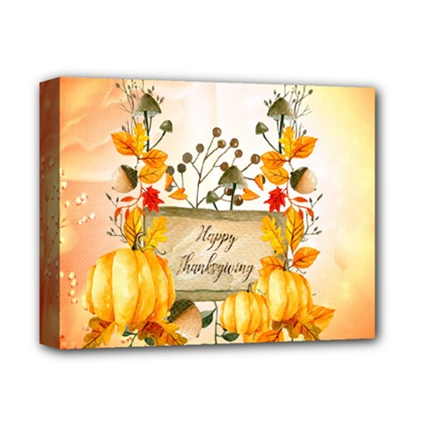 Happy Thanksgiving With Pumpkin Deluxe Canvas 14  X 11